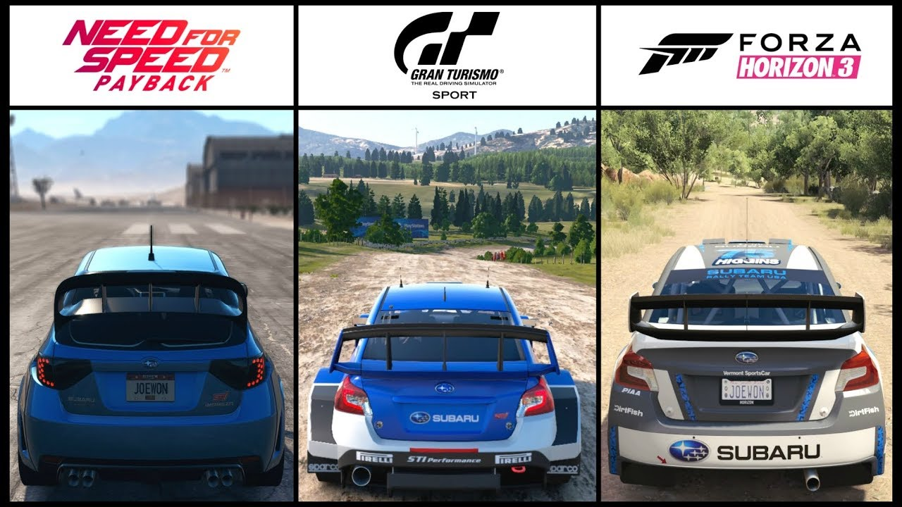 Nfs Payback Vs Gt Sport Vs Forza Horizon 3 Subaru Rally Battle Youtube