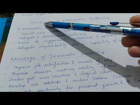 Democratic/ Participative Leadership (advantages, Disadvantages, Suitability) Class 12