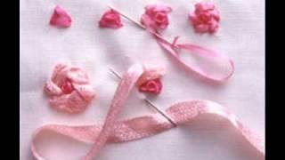 Aprenda fazer lindas flores de fita bordada
