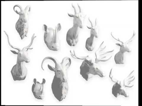 Porcelain Animal Heads Decorative Picture Set Of Rare Beautiful Arts