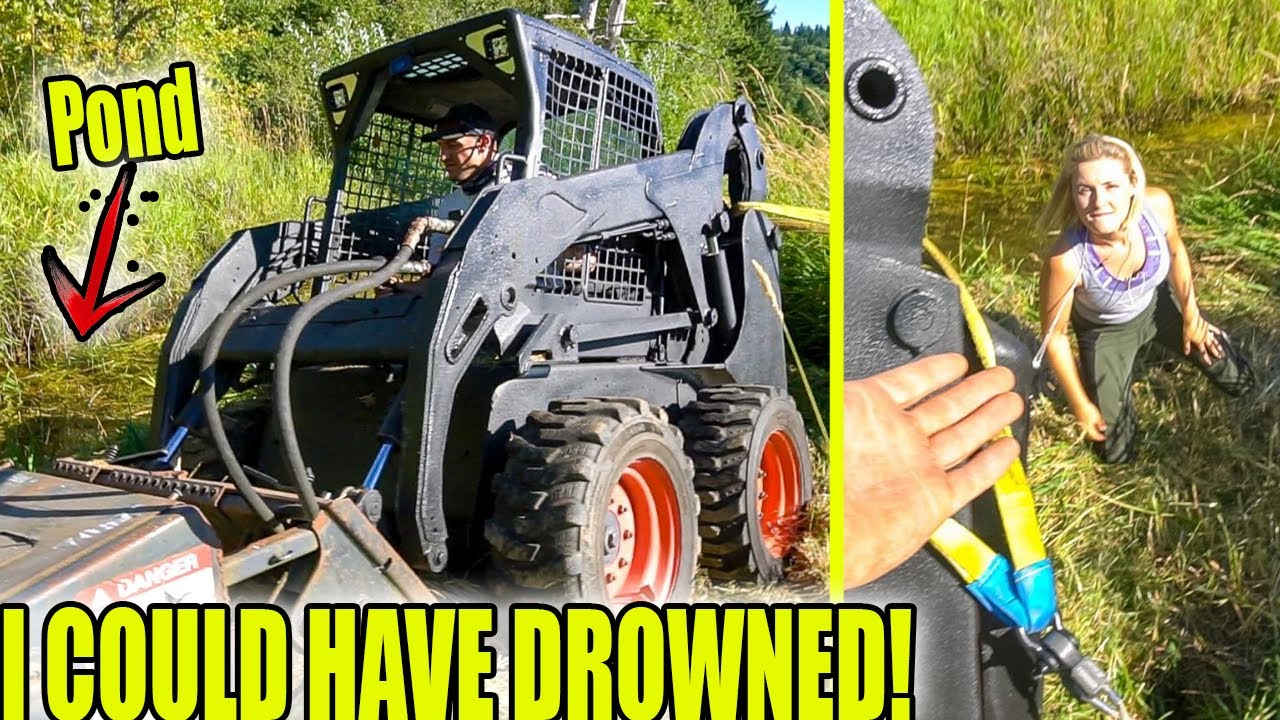 Nearly lost Bobcat in Pond   Wife falls in instead😅 Toyota Tacoma Recovery
