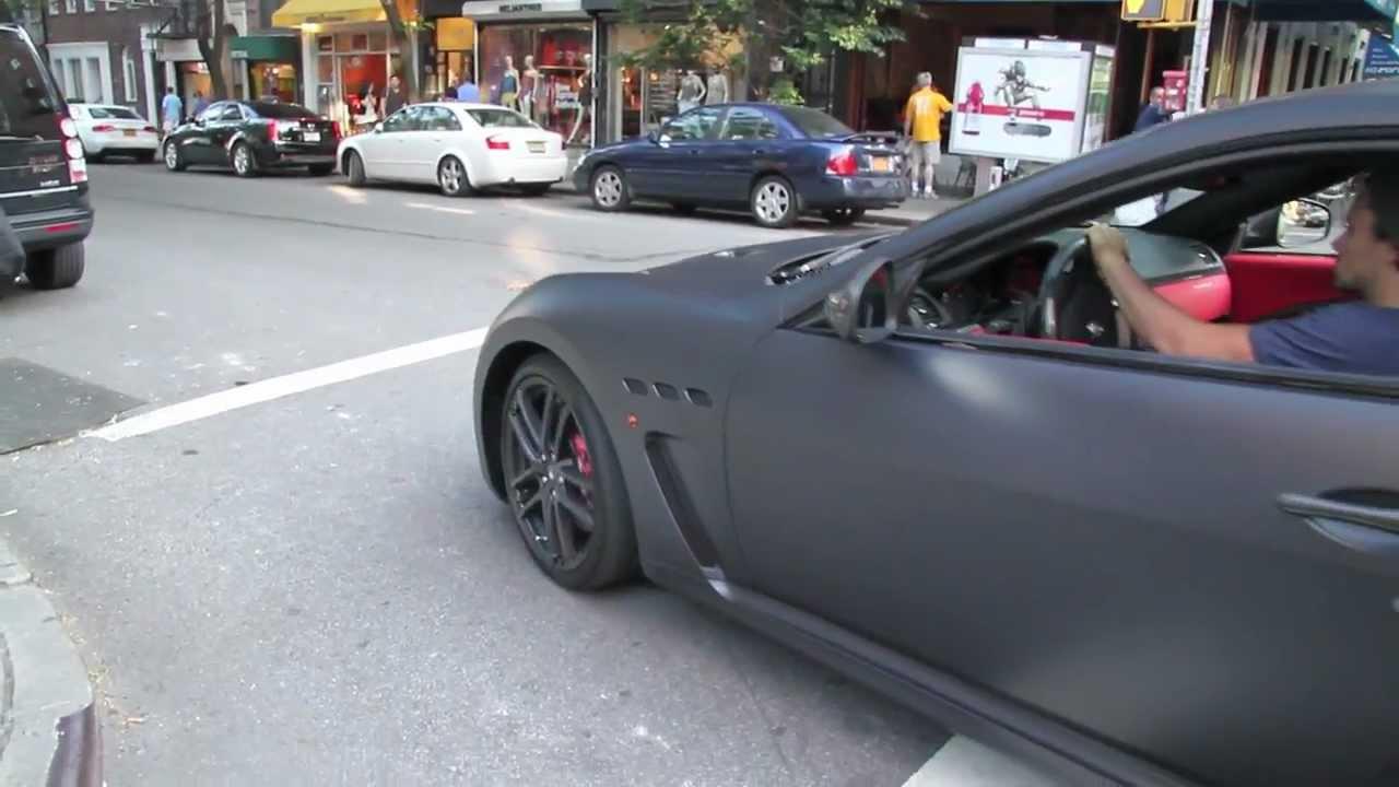 Matte Black Maserati Granturismo Mc Stradale City Acceleration