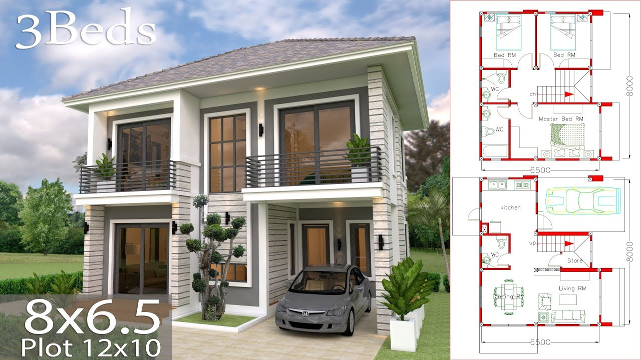 Home design Plan 8x6.5m with 3 Bedrooms sketchup house design dream on 10x10 house, 8x10 house, 10x12 house, 24x20 house, 8x8 house, 14x14 house, 6x10 house, 10x16 house, 24x14 house, 24x12 house,