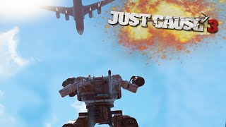 MECH FROM A PLANE IN JUST CAUSE 3! | Just Cause 3 Challenges