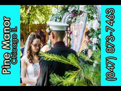 navy-officer-&-bride-exchange-wedding-vows-at-garden-venue-in-chicago