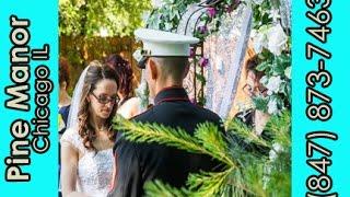 Navy Officer & Bride Exchange Wedding Vows at Garden Venue in Chicago