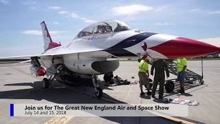 Thunderbird lands at Westover to tease upcoming air show - video with music