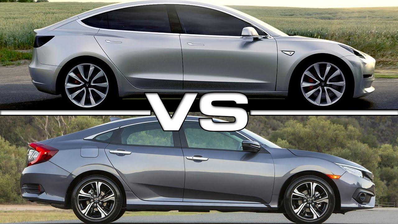 Tesla Model 3 vs Honda Civic - YouTube