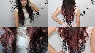 facil Cabello Degradado con dos colores Fuchia y Skyblue(cabello ombre rapido facil)