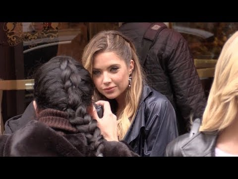 EXCLUSIVE : Ashley Benson comes out of the Bristol hotel in Paris