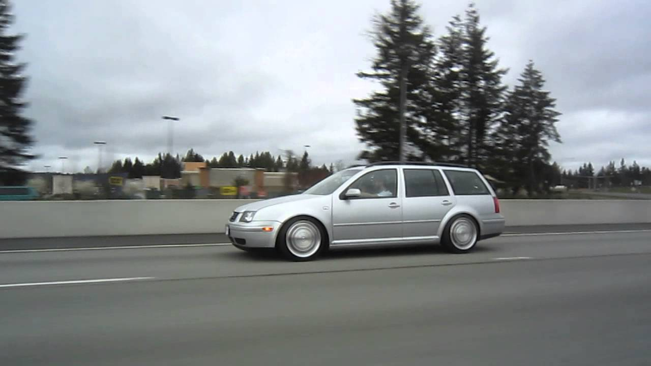 mk4 jetta wagon on chevy corvette wheels rolling on the
