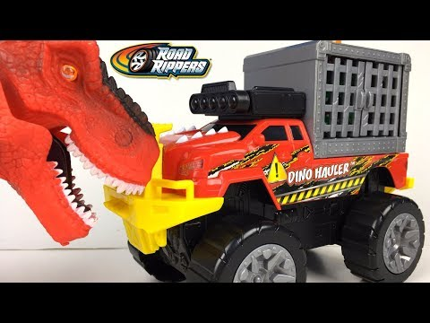 UNBOXING ROAD RIPPERS DINO HAULER TRUCK WITH VELOCIRAPTOR IN CAGE LIGHTS SOUNDS & MOTORIZED ACTION
