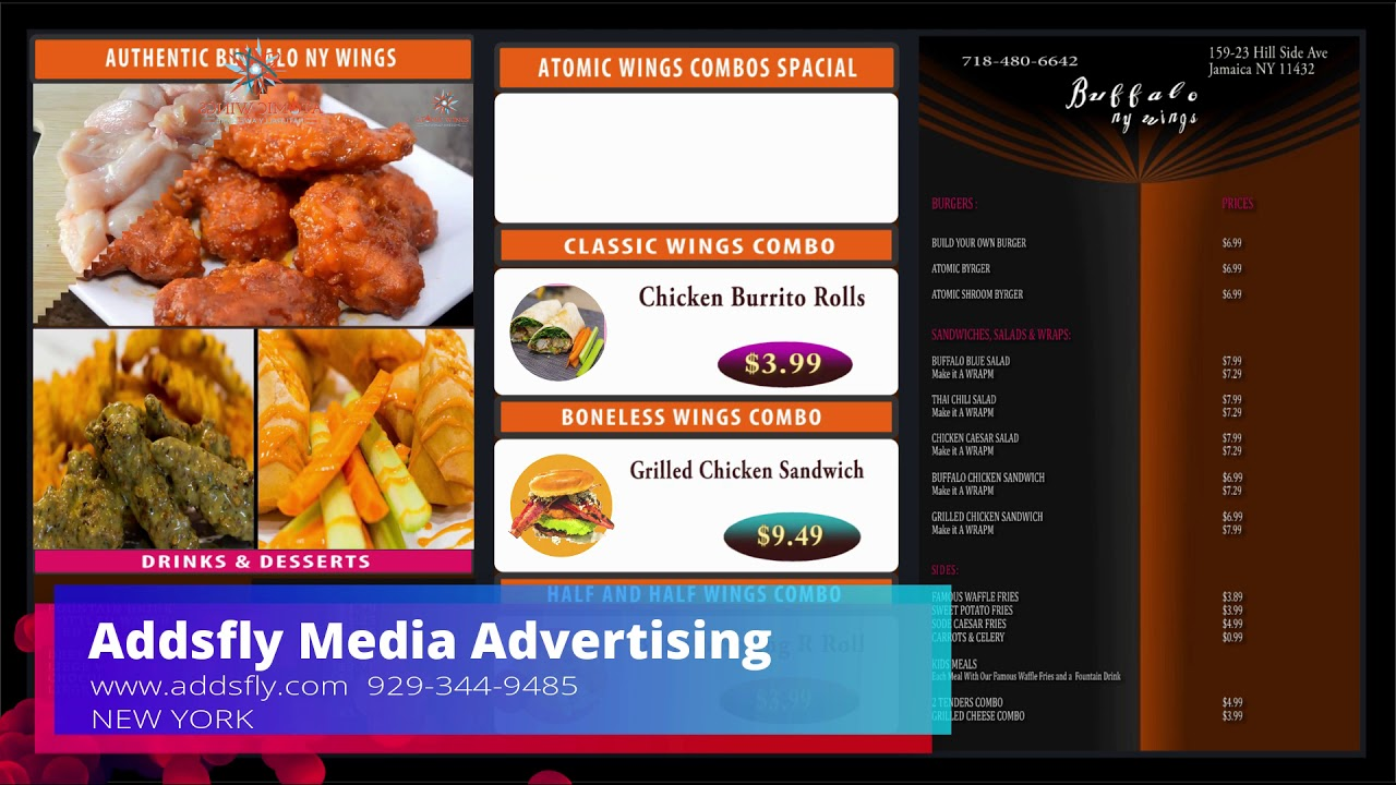 Buffalo Restaurants Wings TV Menu  Marketing by (Addsfly Media Advertising) Ph- 9293449485  New York