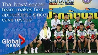 Thai boys' soccer team makes first public appearance since cave rescue