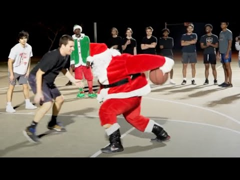 300 Pound Santa Hoopin' (Raw Unedited Game) Santa Basketball