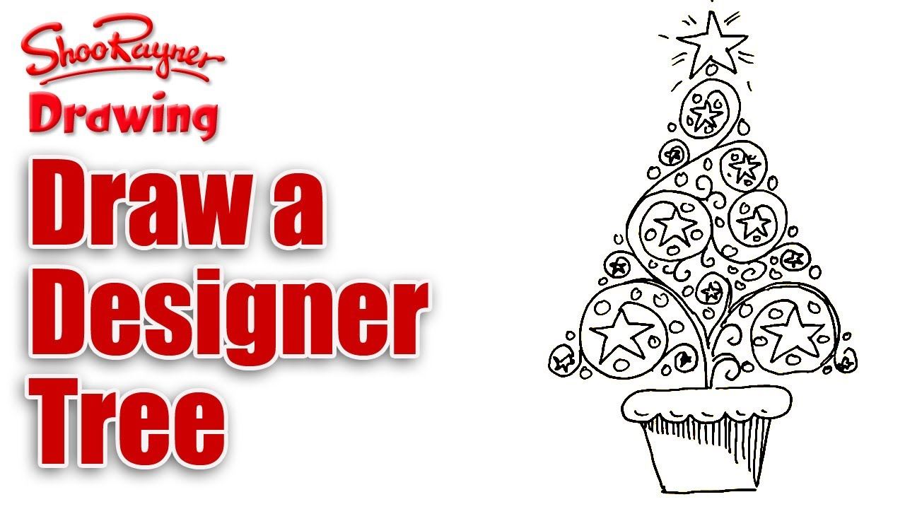 how to draw a designer christmas tree - Christmas Tree Designs