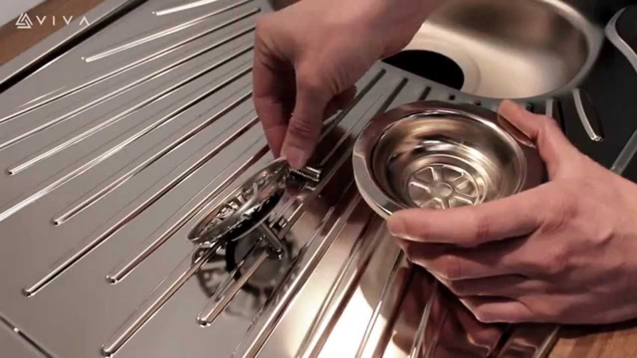 how to install or replace a basket strainer sink waste in a kitchen youtube [ 1280 x 720 Pixel ]