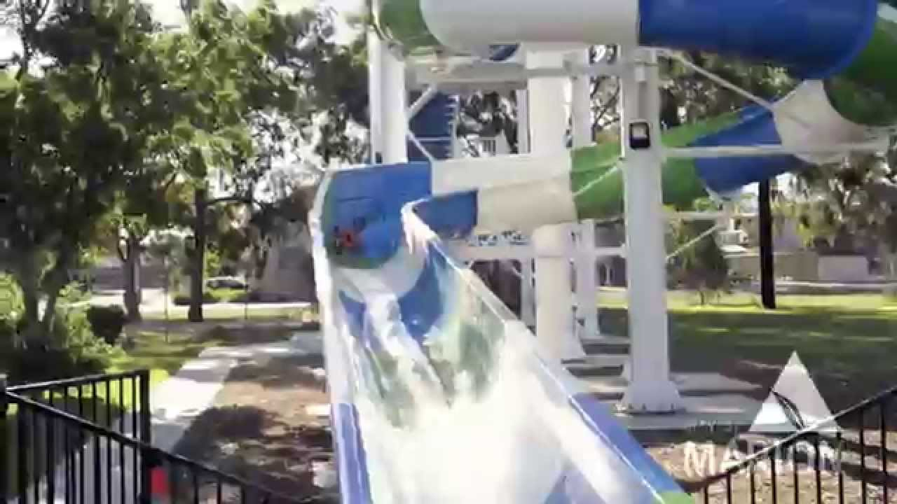 Marion In A Minute 70m Water Slide At The Marion Outdoor Swimming Centre Youtube