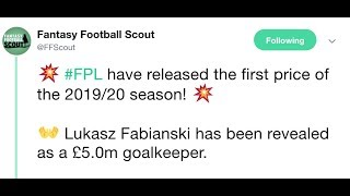 FPL 2019/20 Prices Reveal