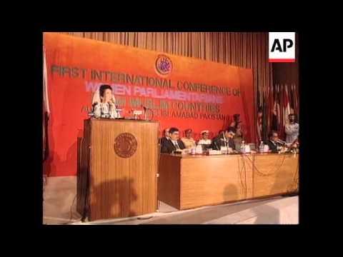 Pakistan - Bhutto Opens Historic Female Forum