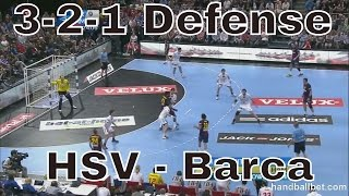 Handball 3-2-1 defense (Hsv-Barcelona final VCL 2013)