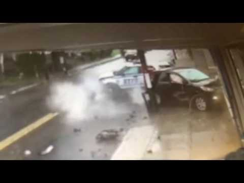 Surveillance video: NYPD in dramatic collision