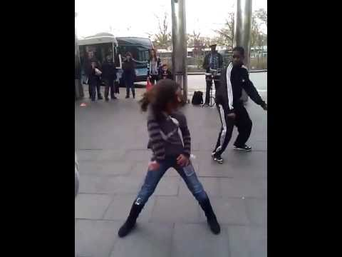 10 yr girl dancing Hip Hop with street performers in NYC 2011