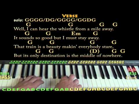 Long Black Train (Josh Turner) Easy Piano in G Major Cover Lesson with Chords/Lyrics