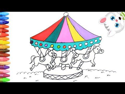 cómo-dibujar-y-colorear-tiovivo- -dibujos-para-niños-con-mimi- -aprender-colores