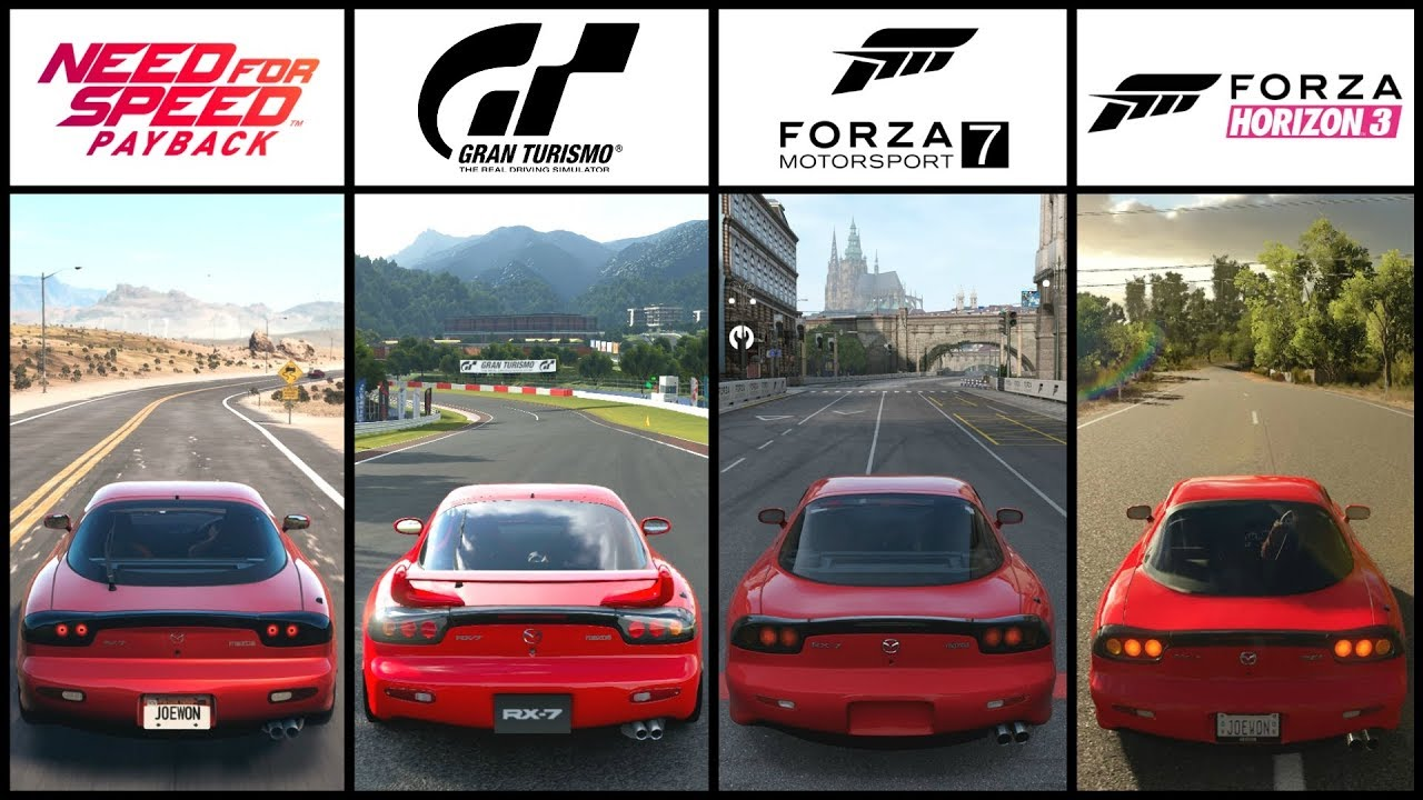 Nfs Payback Vs Gt Sport Vs Forza 7 Vs Forza Horizon 3 Mazda Rx7 Comparison Youtube