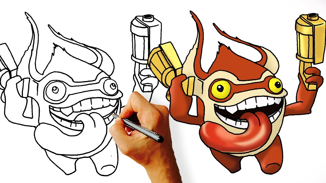 how to draw trigger happy from skylanders youtube