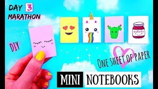 DIY MINI NOTEBOOKS from ONE SHEET OF PAPER - Easy & Cute Back To School Projects