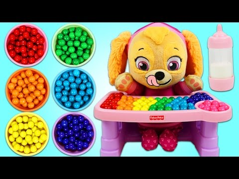 PAW PATROL Feeding Baby Skye Rainbow Gumballs Learning Colors Video for Children!