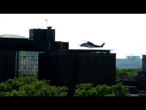 HD LifeFlight Helicopter Lands on the Roof of the Halifax Medical Center Nova Scotia Canada