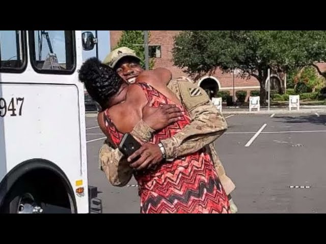 Soldier home from Afghanistan deployment surprises his mom on trolley bus she drives