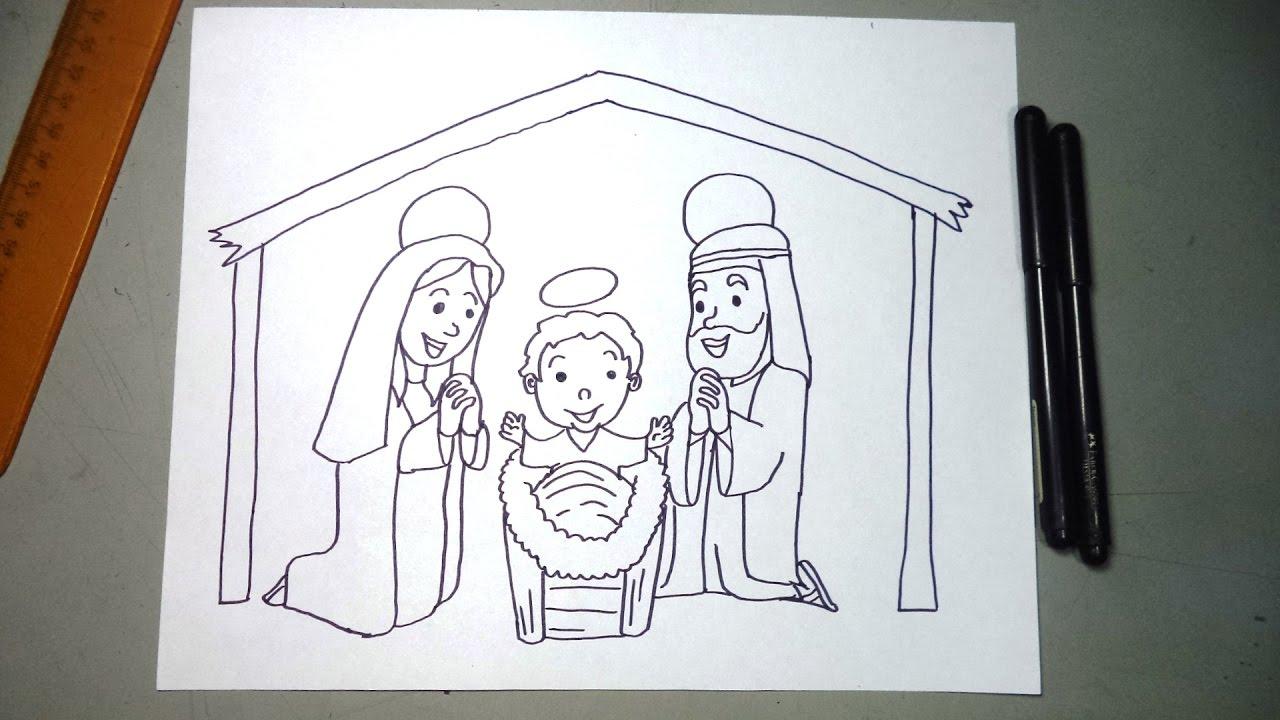 Cómo Dibujar Un Pesebre Pasa A Paso Niño Dios María Y Jose Youtube