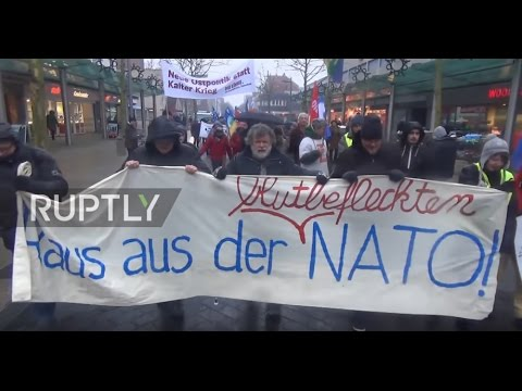 Germany: Scores protest transport of NATO soldiers through Germany