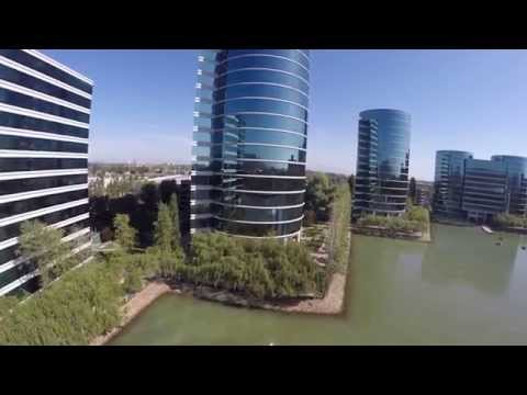 Aerial footage of Oracle's headquarters in Redwood City, CA