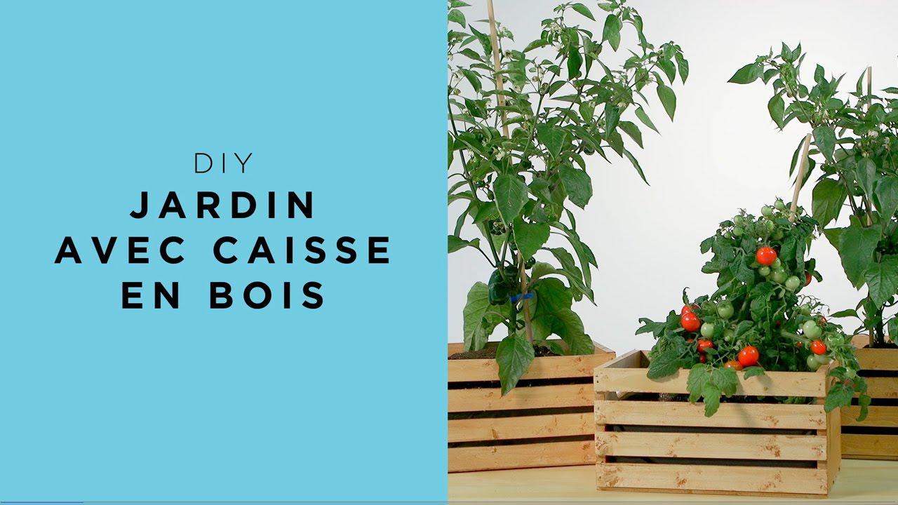 jardin dans une caisse de bois diy youtube. Black Bedroom Furniture Sets. Home Design Ideas
