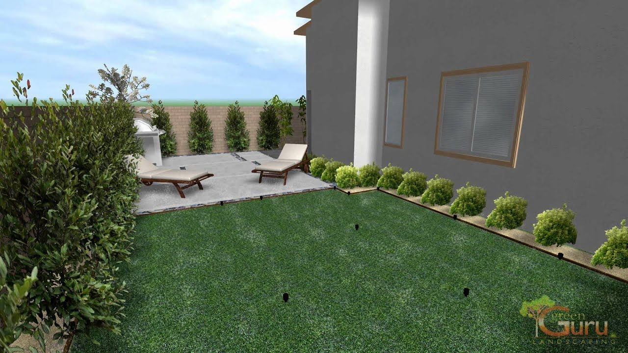 3 D Backyard Landscape Design Las Vegas Landscapers   YouTube