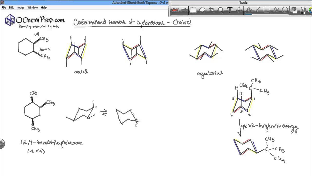 how to draw a cyclohexane chair