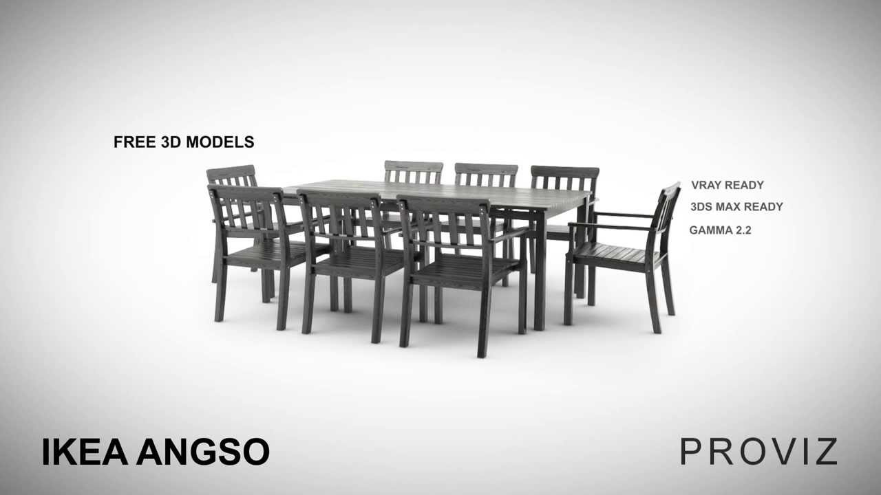 FREE 3D MODELS IKEA ANGSO OUTDOOR FURNITURE SERIES