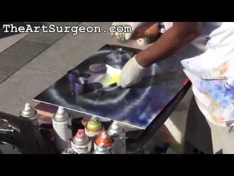 "Spray Paint Art on Canvas by Joseph Francis: ""Seattle Space"" Seattle 2011 // The Art Surgeon"