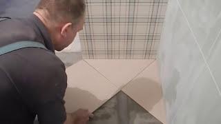 Укладка плитки по диагонали ч.1(В этом видео подробно показано и рассказано что нужно сделать и с чего начать,что бы качественно уложить..., 2015-04-07T13:45:44.000Z)