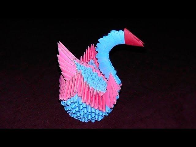 Оригами из модулей лебедь со