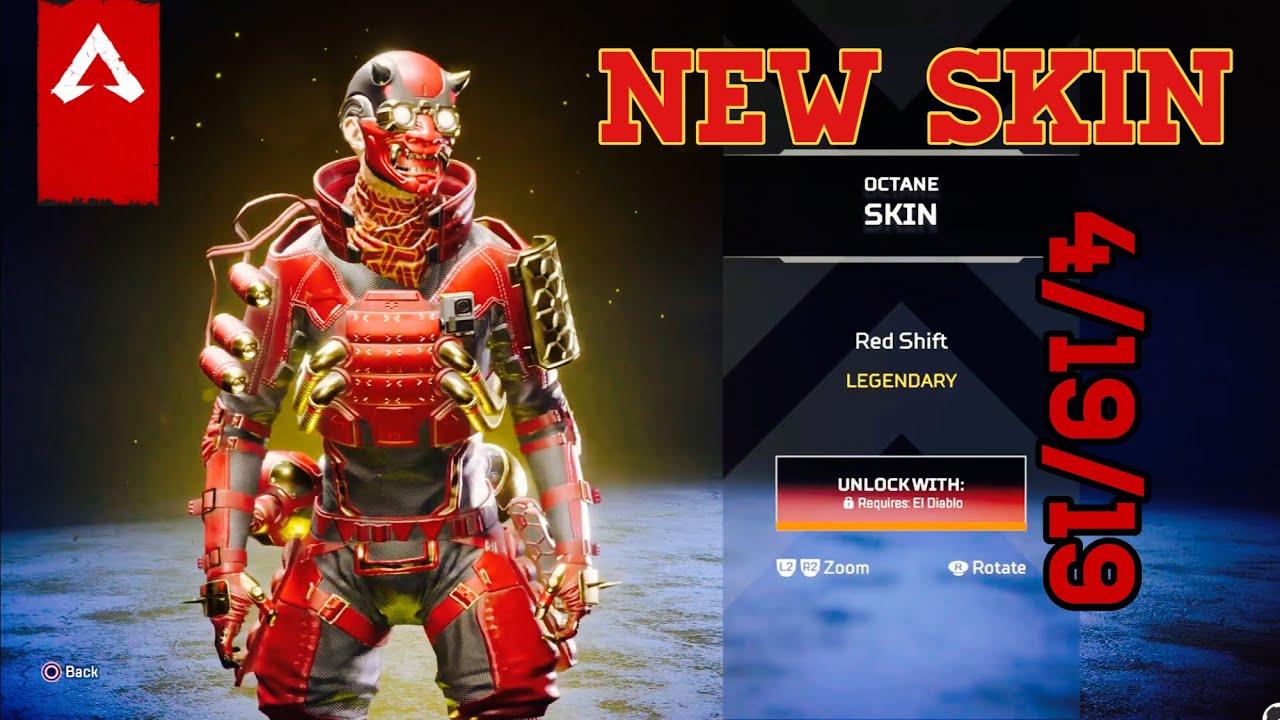 """*NEW* """"El Diablo"""" and """"Red Shift"""" Octane Legendary Skins Apex Legends Item  Shop 4/19/19"""