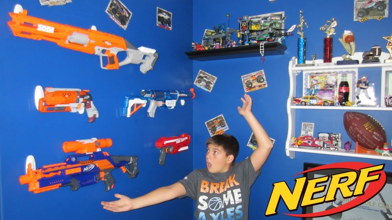 Nerf Gun Wall Diy Build In 5 Minutes With 3m Command Hooks Youtube