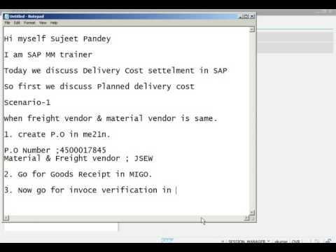 SAP MM  delivery cost
