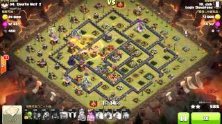 clash of clans th10 3star hybrid attack gole+hog