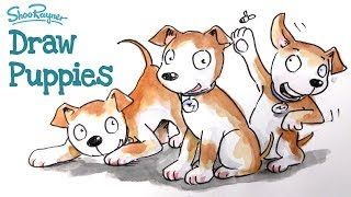 How to illustrate cute puppies - watercolour illustration